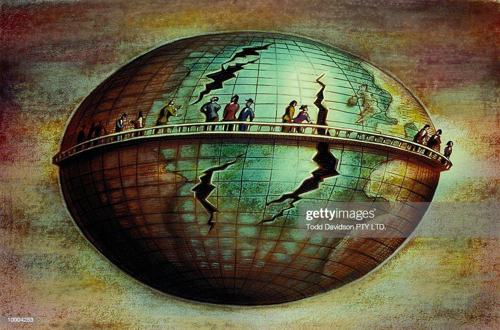 PEOPLE AROUND EARTH WATCHING IT CRACK : Ilustração de stock