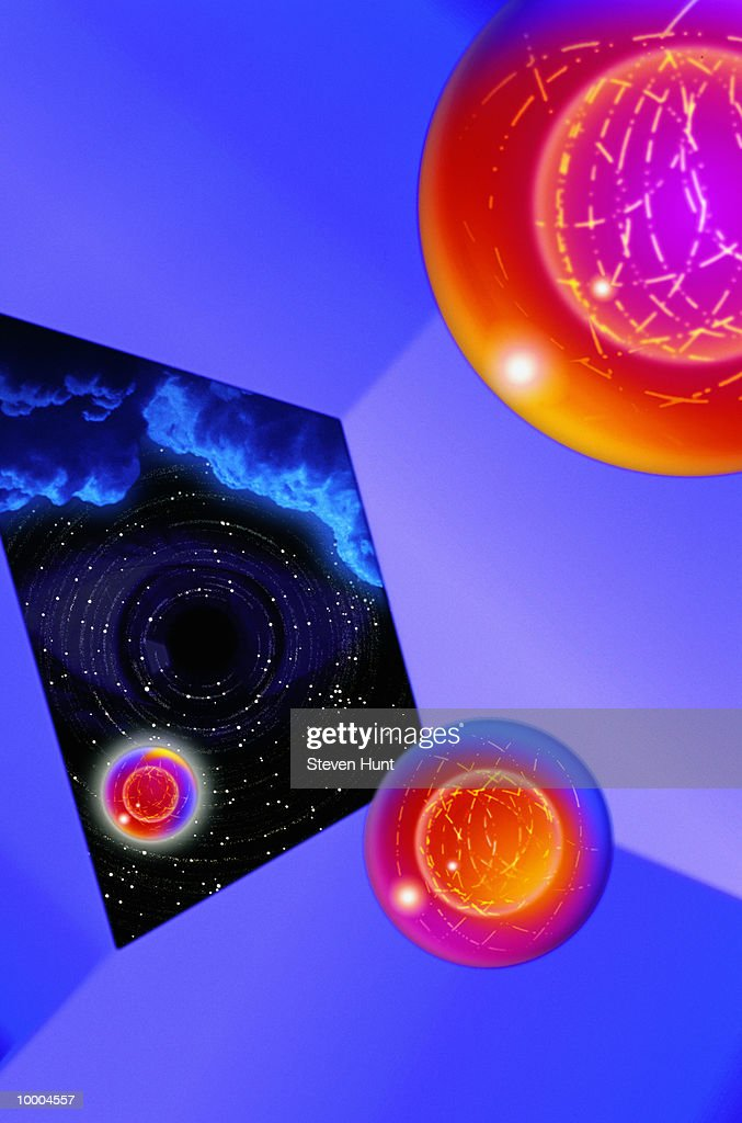 3-D BOX WITH OPEN END SHOWING SPACE & CLOUD : Stock Illustration