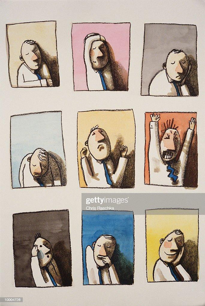 BUSINESSMAN IN NINE EMOTIONAL STATES : Ilustração de stock