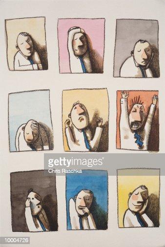 BUSINESSMAN IN NINE EMOTIONAL STATES : Stock Illustration