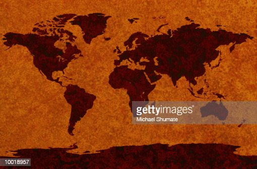 MAP (MILLER PROJECTIONS) GOLDS & BROWNS : Stock Illustration
