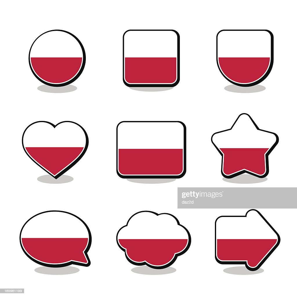 poland flag icon set vector art getty images