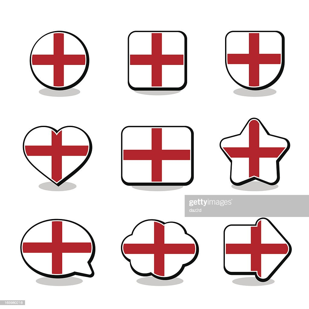 england flag icon set vector art getty images