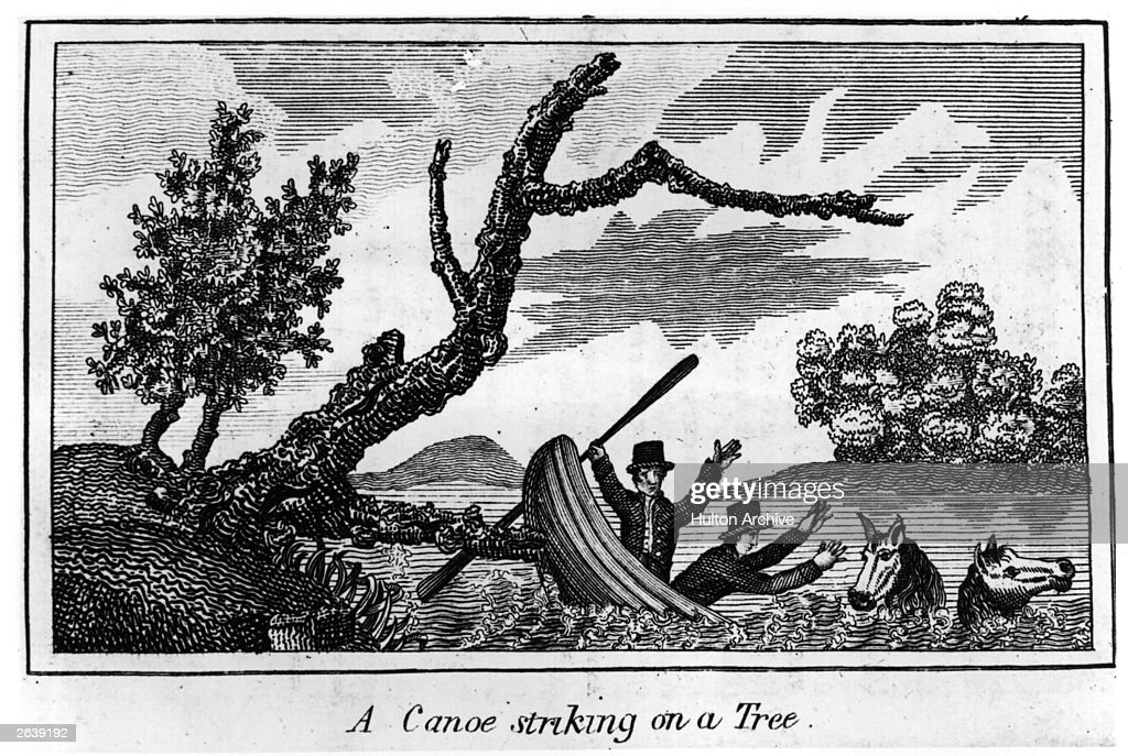 An illustration from 'Journal of Voyages' by Peter Gass, describing the expedition through the Western part of America by Captain Clark and his men. A canoe striking a tree. Original Artwork: From 'Journal of Voyages' by Peter Gass - pub 1811.