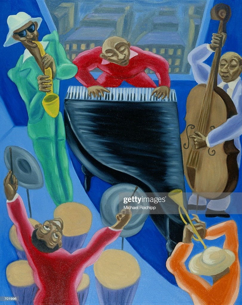 OVERVIEW OF JAZZ BAND : Stock Illustration