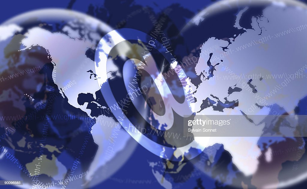 GLOBE WITH 'AT' SYMBOL : Stock Illustration