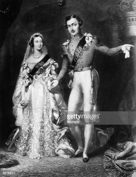 Queen Victoria and Prince Albert on their return from the marriage service at St James's Palace London Original Artwork Engraved by S Reynolds after...
