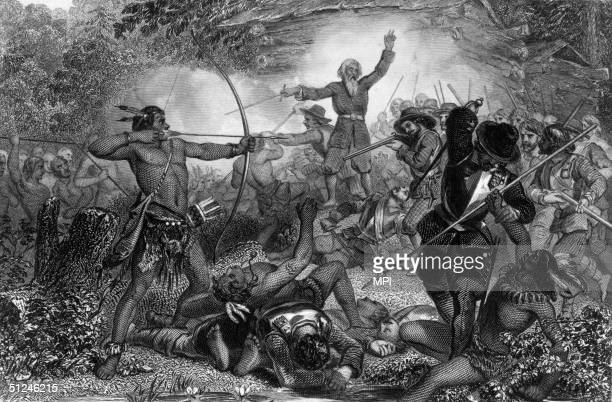 10th May 1676 General Goffe in a surprise attack on Indians at Deerfield Hadley Massachusetts