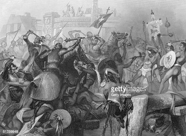 13th August 1521 Engraving of a battle scene during the capture of the Aztec capital of Tenochtitlan by Spanish explorer and conqueror Hernando Cortez