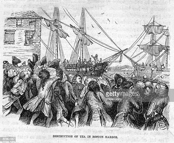 Rioters dressed as American Indians throwing boxes of tea into Boston Harbour whist being urged on by a mob of Bostonians