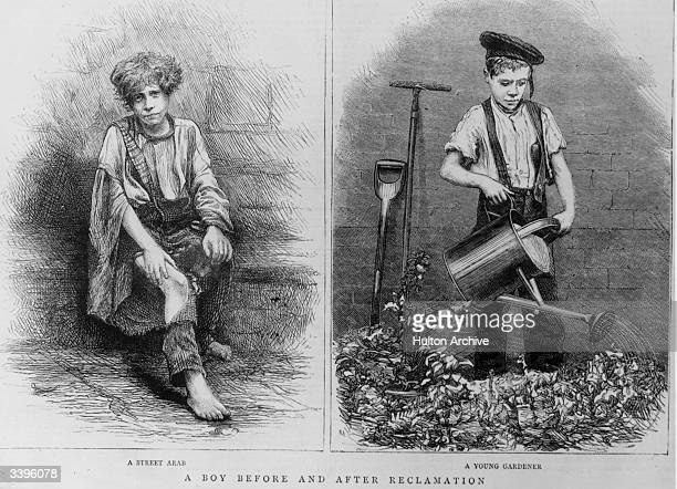 A young London street urchin left before reclamation by the East End Juvenile Mission and right in employment as a gardener after being cared for by...