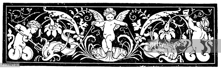 19th century engraving of a decorative page header; Depicts cherubs set against a dark background; Decorative Victorian page/book illustrations  1890 : Stock Illustration