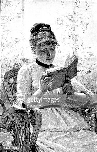 19th century engraving of a pretty young lady sat in a wicker chair reading her book; Victorian women and literature 1890 : Stock Illustration