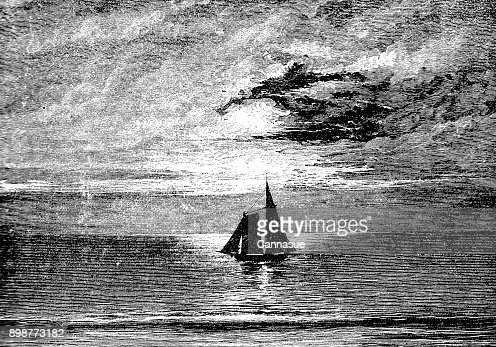 19th century engraving of a sailing boat set in a dark scene; Victorian seascapes 1890 : Stock Illustration