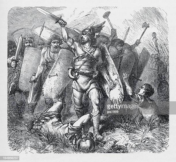 19th century illustration of Narses overcoming the ostrogoths