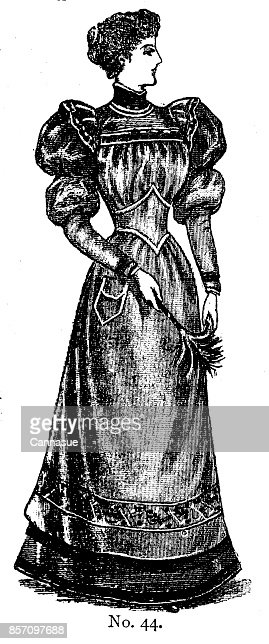 19th century ladies day dress with leg of mutton sleeves and high collar fashion plate; Victorian clothing and latest fashions 1893 : Stock Illustration
