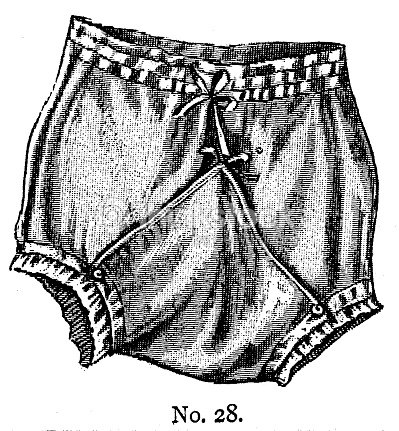19th Century Ladies Tie Front Bloomers Or Knickers Underwear Fashion