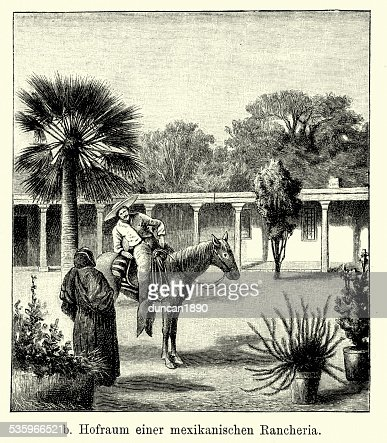 19th Century Mexico - Mexican Ranch : Stock Illustration