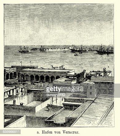 19th Century Mexico - Port of Veracruz : Stock Illustration