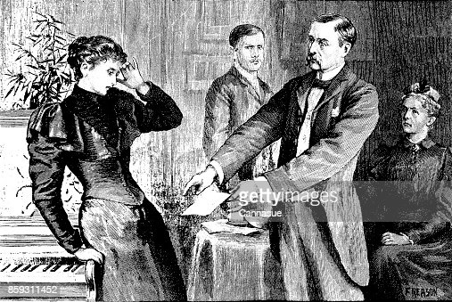 19th century story illustration depicts a man showing a letter to a startled woman; Victorian melodrama; artist Florence Reason 1893 : Stock Illustration
