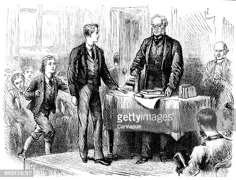 19th century story illustration of a man stood before a desk with books on while a group of boys sit to one side; Victorian schools and education 1883 : Stock Illustration