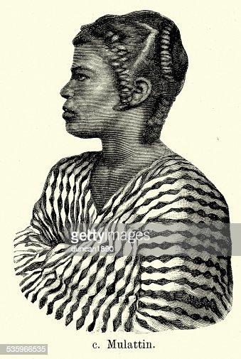 19th Century West Indies - Mulatto Woman : Stock Illustration