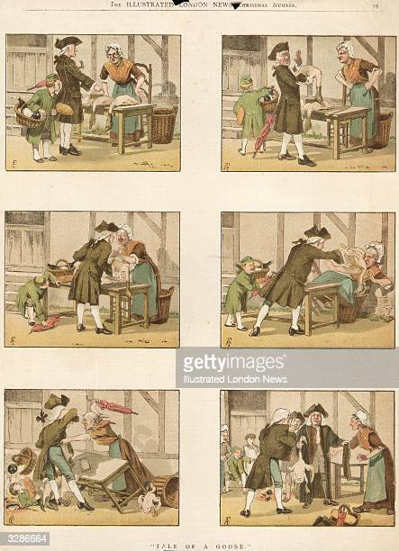 A man argues with a trader over the quality of her geese in this series of cartoons for Christmas Original Publication The Illustrated London News...