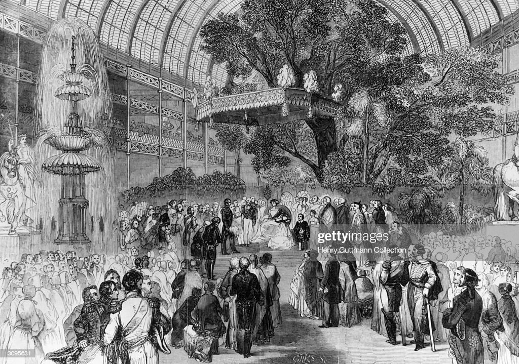 Queen Victoria attends the opening ceremony of the Great Exhibition in the Crystal Palace Hyde Park London Original Artwork Engraved by Gilks after...