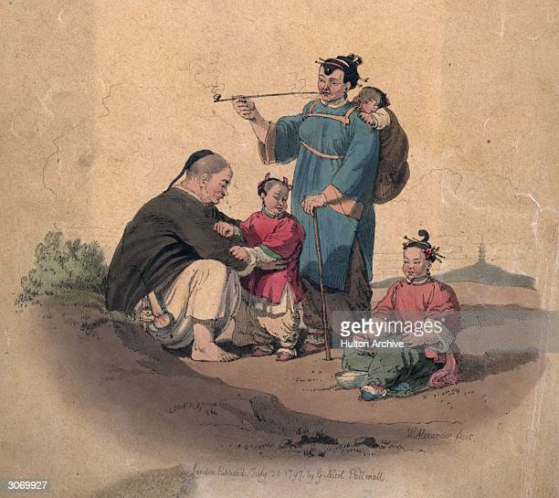 A Chinese family sit down to a meal of rice The mother smokes a pipe while carrying a baby on her back An engraving by W Alexander