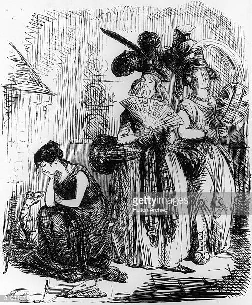 A satirical Punch cartoon by John Leech entitled 'The Irish Cinderella and her Haughty Sisters Britannia and Caledonia' depicting Cinderella as a...
