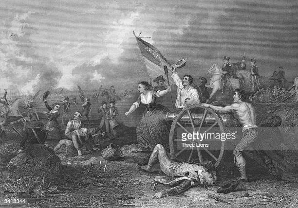 American heroine 'Molly Pitcher' probably Mary Hays McCauley b Ludwig in action during the battle of Monmouth where she carried water to the American...