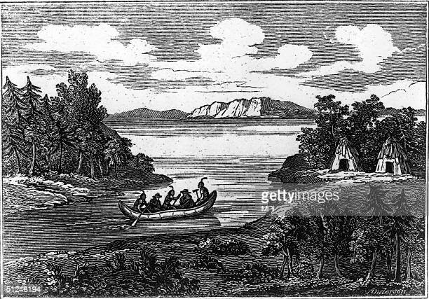 29th February 1704 After the massacre in Deerfield Massachusetts Indians paddle towards camp with two prisoners At the massacre French soldiers and...