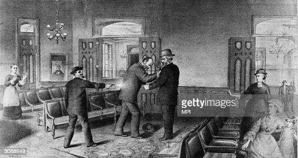 Charles Jules Guiteau a disillusioned office seeker shoots US president James Garfield in the back at the Baltimore and Potomac Railroad Depot...