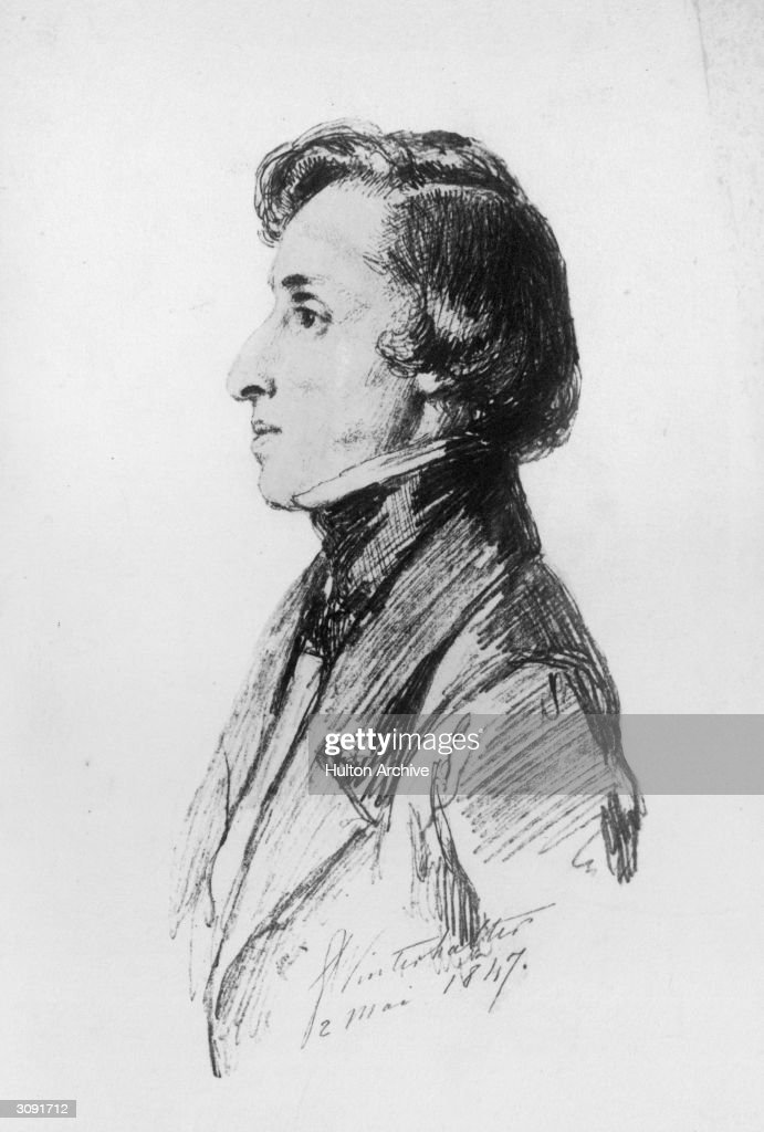 Polish composer Frederic Francois Chopin (1810 - 1849), who studied the piano from the age of four and performed his first concert at eight.