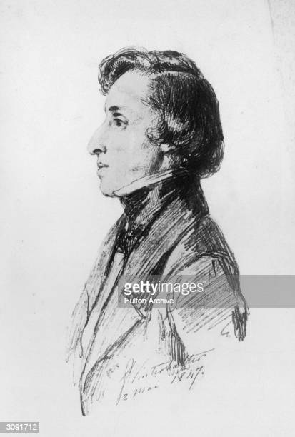 Polish composer Frederic Francois Chopin who studied the piano from the age of four and performed his first concert at eight