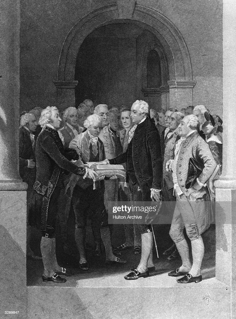 The inauguration of George Washington the 1st President of the United States of America
