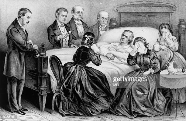 On his deathbed surounded by his family and doctors Andrew Johnson exPresident of the USA Successor to Lincoln he was impeached and brought to trial...