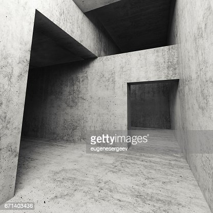 3d dark empty concrete interior with doorways : Stock-Illustration