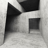 Abstract dark empty concrete interior with doorways, square 3d illustration