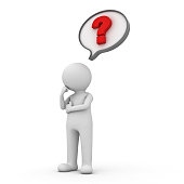 3d man with red question mark in speech bubble over white background.