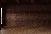 3d rendering of empty studio room with red bricks wall
