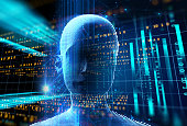 3d rendering of human  on geometric element technology background  represent artificial intelligence and cyber space concept