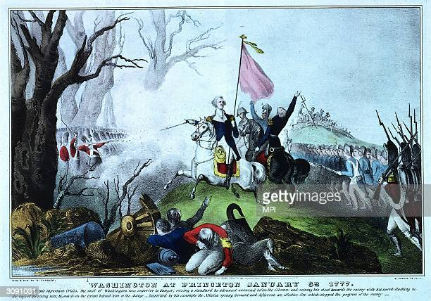 Washington and his troops attacking the British at the Battle of Princeton