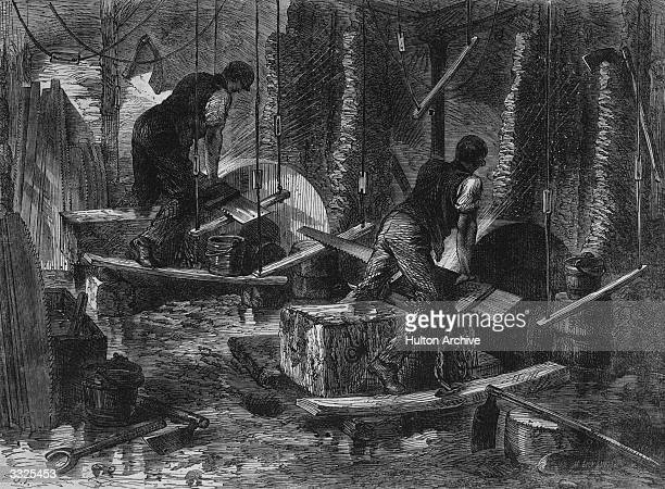 A couple of workers grinding saws at a steel foundry in Sheffield Original Publication Illustrated London News By M Jackson