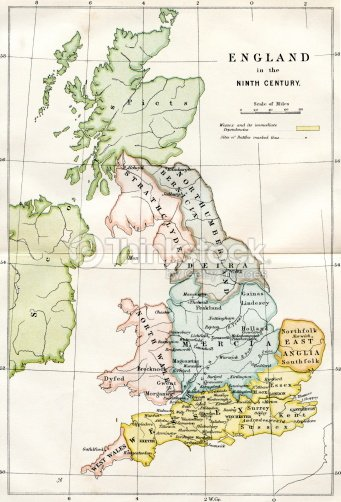 Map Of England 9th Century.9th Century Map Of Great Britain Stock Illustration Thinkstock