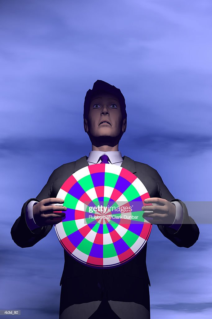 a businessman holds a target against his chest while standing  against a blue sky : Stock Illustration