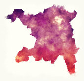 Aargau canton watercolor map of Switzerland in front of a white background