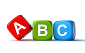 colorful abc cubes on the white background (3d render)