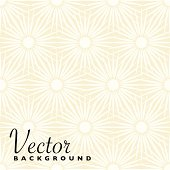 Abstract beige and white floral background with seamless pattern