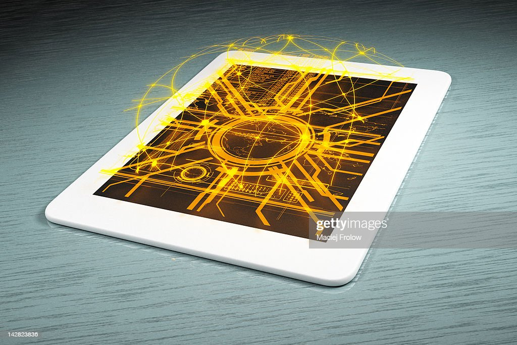 Abstract connection lines on tablet : Stock Illustration